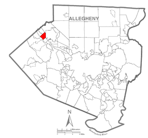 Map of Edgeworth, Allegheny County, Pennsylvania Highlighted.png