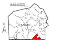 Map of Adams County, Pennsylvania highlighting Germany Township