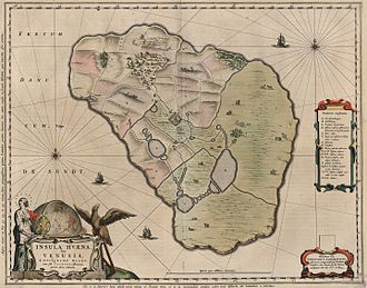 Ven (Sweden) - Map of Hven from the Blaeu Atlas 1663, based on maps drawn by Tycho Brahe in the previous century