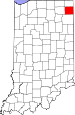 Map of Indiana highlighting DeKalb County.svg