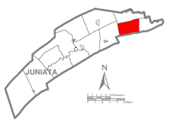 Map of Juniata County, Pennsylvania Highlighting Greenwood Township.PNG