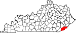 State map highlighting Harlan County