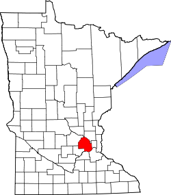 Map of Minnesota highlighting Hennepin County.svg