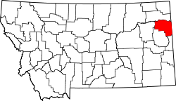Map of Montana highlighting Richland County.svg