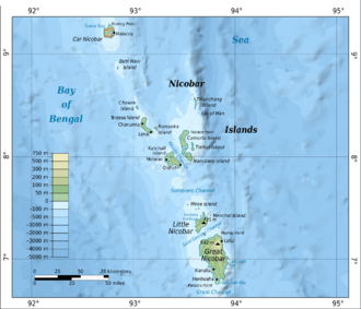 Car Nicobar - Image: Map of Nicobar Islands en
