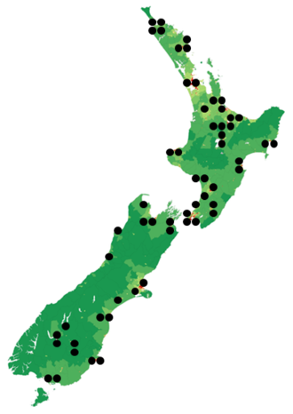 RNZ National - This is a map of RNZ-owned frequencies for RNZ National.