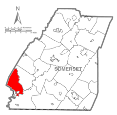 Map of Somerset County, Pennsylvania highlighting Lower Turkeyfoot Township.PNG