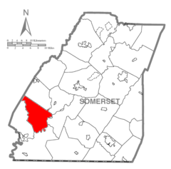 Map of Somerset County, Pennsylvania highlighting Upper Turkeyfoot Township.PNG