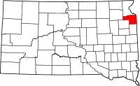 Map of South Dakota highlighting Grant County