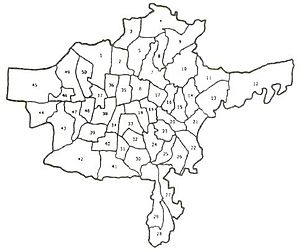 Administration of Thrissur - Map of Thrissur Municipal Corporation showing boundaries of wards