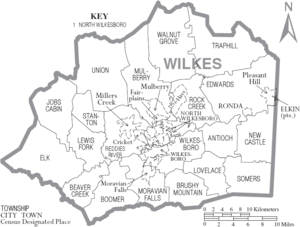 Map of Wilkes County, North Carolina With Municipal and Township Labels