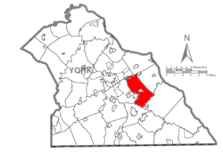 Map of York County, Pennsylvania highlighting Windsor Township