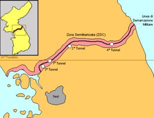 La penisola coreana, prima divisa lungo il 38º parallelo, poi lungo la linea di demarcazione