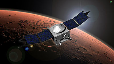 5 November: MAVEN, an orbiter circling Mars, helped determine that the solar wind stripped away the atmosphere from Mars over the years. Mars-MAVEN-Orbiter-20140921.jpg