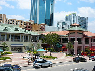 Mary Brickell Village - The shopping center's west entrance