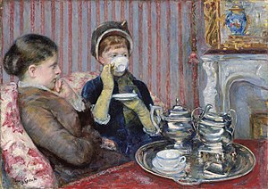 Mary Cassatt - Tea by Mary Cassatt, 1880, oil on canvas, 25½ × 36¼ in., Museum of Fine Arts, Boston
