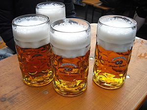 Märzen - Märzen served at Oktoberfest in the traditional 1-litre Maß.