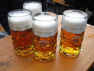Beer in Germany - Märzen at Oktoberfest, served in the traditional 1-litre Maß.
