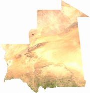 Satellite image of Mauritania, generated from raster graphics data supplied by The Map Library