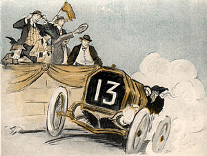 """May Wilson Preston - May Wilson Preston, """"Without cutting down her speed, bumped home the winner"""", Illustration for Tish, Mind over Motor, 1916"""