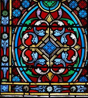 {{fr|1=Détail d'un vitrail néogothique de la c...