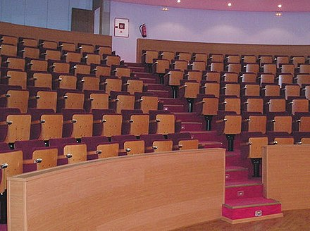 Theatre-type seating in a lecture hall with a stair aisle. Meeting hall-3.jpg