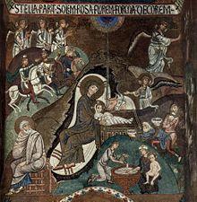 Naissance du Christ,Mosaïque de la chapelle palatine de Palerme, v. 1150