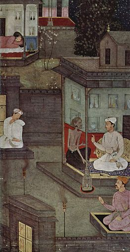 An old painting of people talking in houses