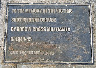 Shoes on the Danube Bank - The plaque.