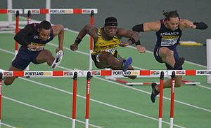 2016 IAAF World Indoor Championships – Men's 60 metres hurdles - The three medalists during the final