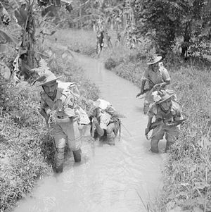 11th Infantry Division (India) - Men of the 2/9th Gurkha Rifles training in the Malayan jungle, October 1941.