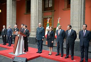 "Joaquín ""El Chapo"" Guzmán - President Enrique Peña Nieto, accompanied by Cabinet members, holds a press conference in the Palacio Nacional announcing the capture of Joaquín Guzmán"