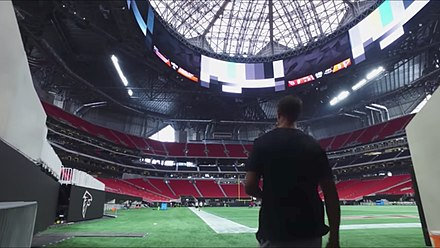 Interior of the stadium in August 2017 Mercedes Benz Stadium interior 2017-08-25 1.jpg