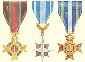 Meritorious Service Medal (Vietnam) - Meritorious Service Medals (from left to right): Army, Air Force, and Navy