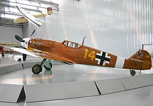 Hans-Joachim Marseille - Bf 109 G-2 painted with markings of Marseille's aircraft on display at the Museu TAM in São Carlos, Brazil