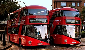 New Routemaster - A pair of New Routemaster buses operating route 24 at Hampstead Heath