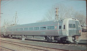 Budd Metroliner - A Metroliner in PRR livery sitting on the Budd delivery siding off Reading Railroad's New York Branch in March 1968