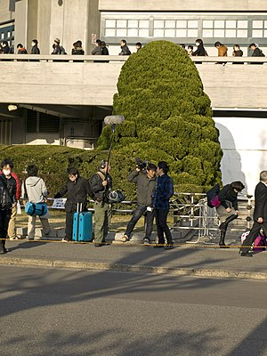 """May'n - A TV group (front) and the queue (back) waiting for May'n Special Concert 2013 """"MIC-A-MANIA"""" in Nippon Budokan, Tokyo, March 2013."""