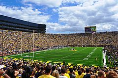 "Crowded stadium with yellow-colored ""Michigan"" written on a green field"