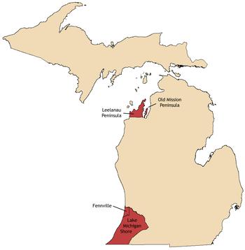 Michigan Wine Wikipedia - Michigan wineries map