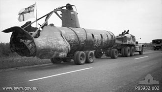 Type A Kō-hyōteki-class submarine - The two midget submarines sunk in Sydney Harbour were used to construct a composite midget submarine which toured Australia during the war.