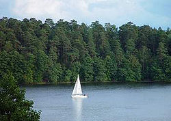 Sailing on Lake Mikołajki.