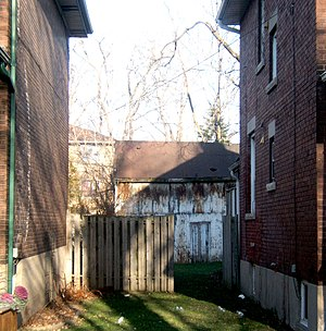 Mimico - Old Barn behind houses on Superior Ave