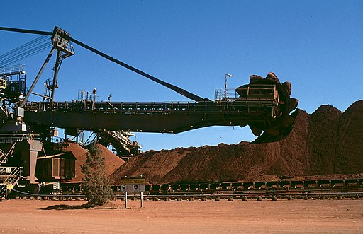 Mining equipment at the Comalco bauxite mine; Weipa