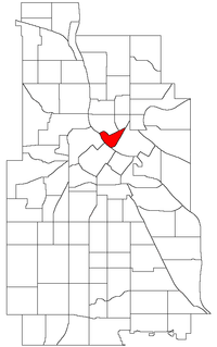 Location of Nicollet Island/East Bank within the U.S. city of Minneapolis