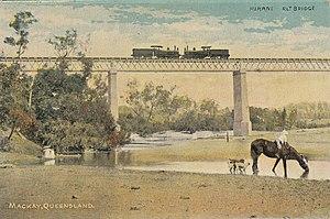 Mirani, Queensland - Mirani railway bridge over the Pioneer River, circa 1910