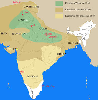 Akbar - Mughal Empire under Akbar's period (dark yellow)