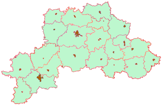 Mogilev Region - Map of the administrative subdivisions of the Mahilyow Voblast