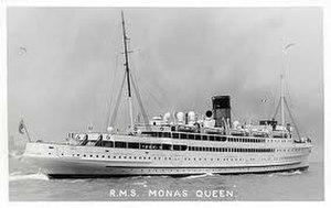 SS Mona's Queen (1934) - Mona's Queen pictured departing Liverpool.