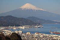 Port of Shimizu and Mount Fuji from Nihondaira